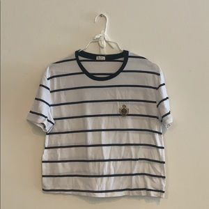 Brandy Melville Striped Embroidered Top